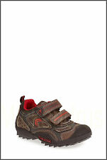 -NWB Geox Respira Boys Italian Leather Sneaker COFFEE/RED Size 4 Youth