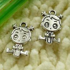 free ship 30 pieces tibetan silver girl charms 23x14mm #3039