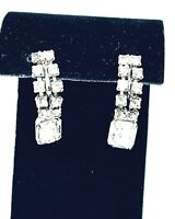 Vintage Silver Tone Crystal Rhinestone Dangle Screw back Earrings Jewelry
