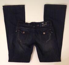 MEK Denim USA MUNICH Distressed Boot Cut Dark Blue Jeans Size W 27 (28) x L 34