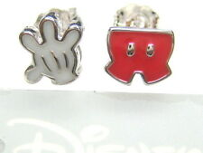 AUTH DISNEY MICKEY MOUSE HAND & PANTS STERLING PLATINUM CLAD STUD EARRINGS
