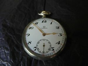 OMEGA Silver Pocket Watch, Premium, in excellent condition and working well