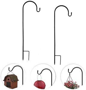 2× Metallstab Garten Hirtenstab Laternenhalter Stecker Schäferstock mit Haken 1M