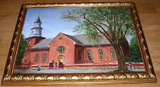 AMERICANA VINTAGE BRUTON PARISH CHURCH WILLIAMSBURG VIRGINIA VA OIL ART PAINTING