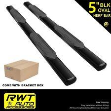 "5"" OVAL Black Side Steps Nerf Bars Fit 99-13 Chevy Silverado 1500 Extended Cab"