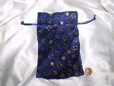 Royal Blue w/Raised Gold Design Pressed Velvet Drawstring Bag