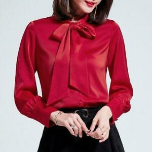 Womens Satin Shirt Chiffon Blouse Bow Tie Button-Down Casual Long Sleeve Tops
