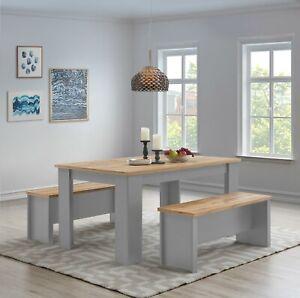 Lisbon 150cm Dining Table & Bench Set Seat Kitchen Grey Oak