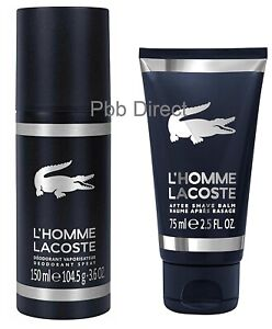 LACOSTE L'HOMME AFTERSHAVE BALM 75ML DEODORANT SPRAY 150ML SET MENS GIFT GENUINE