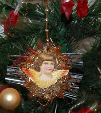 Alter Weihnachtsschmuck Christbaumschmuck flach Bernstein Federbaum (3