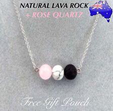 Natural Lava Rock Rose Quartz Stone Aromatherapy Essential Oil Diffuser Necklace