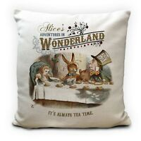ALICE IN WONDERLAND Cushion Cover Always Tea Time Mad Hatter Quote 40 cm 16 Inch
