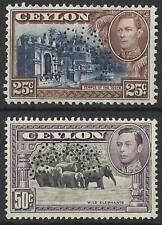 CEYLON KGV1 1938-49 25c,50c PERF SPECIMENS MINT