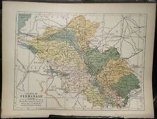 Irish Map Co FERMANAGH Enniskillen Northern Ireland Color PW Joyce 1905 7x9.5