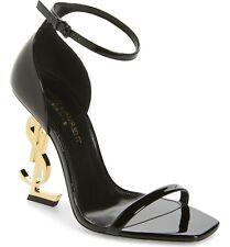 $995+ Saint Laurent OPYUM YSL Ankle Strap Sandal Black Patent 36.5 EU  - 6 US