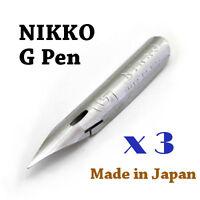 3 x Nikko G pen nib for Copperplate, Spencerian writing & Manga, Comic drawing