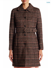 NEW Lands' End Canvas Plaid Wool Blend Coat In BROWN TWEED Sz 12 NWT $250
