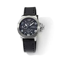 DRONE PRECISION TIMEPIECES CHRONOGRAPH STAINLESS STEEL BLACK LEATHER STRAP WATCH