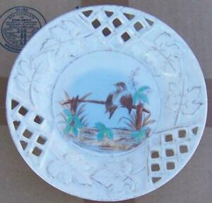 Vintage Decorative Plate with Bird on Fence and Pierced Edge and Gold Trim