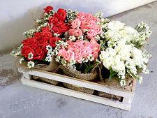Holzkiste mit Kunstblumen Rosen Blumenstrauß Rosenstrauß Frühlingdeko Osterdeko