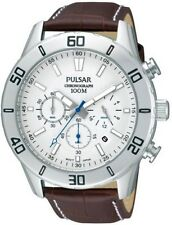Pulsar Men's Stainless Steel Brown Leather Strap PT3433X1 Watch