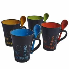 Taylor & Brown Set of 4 Stylish Ceramic Coffee Mugs With Matching Colour Spoons