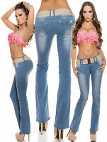 Women Jeans Boot Cut Sexy Trouser Clubbing Ladies Blue Pant Size 6 8 10 12 14