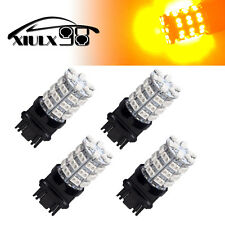 4X NEW High Power Amber Yellow  LED Car 3157 60-SMD Turn Signal Light Bulbs 12V