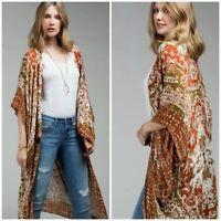 Rust Boho Mandala Kimono Wrap Womens One Size