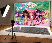 Kids Birthday Party Photography Backdrop Strawberry Shortcake  Background Prop
