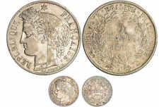 SECONDE REPUBLIQUE LOT CERES 5 FRANCS 1851 ET 20 CENTIMES 1850 PARIS