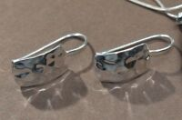 Silpada Sterling Silver Hammered Rectangle French Hook Earrings W0991 925 SHINY