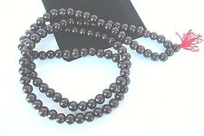 Tibetan Red Sandalwood Bead Prayer Mala 12mm Black Velour Carrying Pouch C60