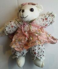 "Little Girls Plush Toy 6"" Inch handmade Vintage Pink Dress Sewn Bear Stuff Anima"