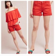 Pilcro And The Letterpress Anthro Size 25 Red Hyphen Cuffed Shorts