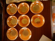 Fire King Dessert Berry Bowls Lot of 8 Peach Lustre Lusterware Used Glass