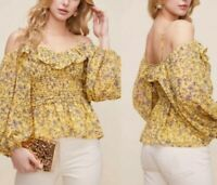 ASTR the Label Womens Ruffle Floral Top NWT XL Yellow Off Shoulder Blouse Puff