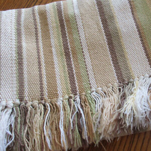 """Vintage Pottery Barn Brown Striped Woven Cotton Table Runner 13"""" x 84"""" 2"""" Fringe"""