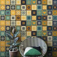 Mediterranean Wallpaper Tile Stickers Ethnic Moroccan Wall Skirting Border NR9