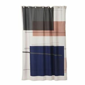 "FERM LIVING DANISH DESIGN ""COLOUR BLOCK"" WATERPROOF COTTON SHOWER CURTAIN NEW"