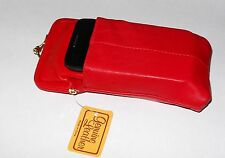 RED Leather Cigarette Case with Cellphone Pouch-GoldTone Clasp Fits KINGS/100s