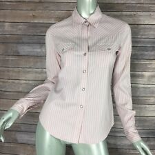 Theory Shirt Womens Size Small 10014 Pink Striped Cotton Pearl Snap Western
