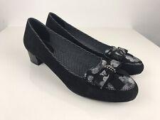 Ruby Shoo Black grey Low block heel size UK 7 bow detail monochrome wedding