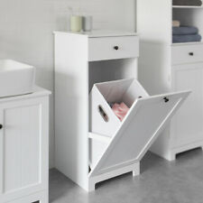 SoBuy®White Laundry Basket Bathroom Storage Cabinet Unit with Drawer BZR21-W,UK
