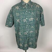 VTG Reyn Spooner Mens Reverse Print Green Hawaiian Shirt XL Flag Nene Aloha