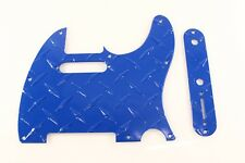 Blue Aluminum Diamond Plate Tele Pickguard Set Fits Fender Telecaster