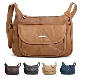 Ladies Real Genuine Leather Zipped Shoulder - New Cross Body Bag by Lorenz-