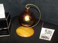 ORNAMENT STUDIO GLASS IRIDIZED W/OAK STAND MT ST HELENS ASH HAND BLOWN GORGEOUS