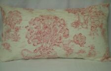 "Pink Ivory Toile Lumbar Decorative Accent Pillow Cover 11""x20"""