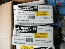 2 Boxes, GENUINE PITNEY BOWES® 6900 RED INK ROLLER CARTRIDGE : Reorder 616-0
